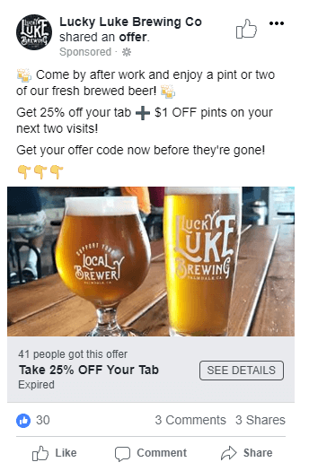 Facebook Offer ad for Brewery